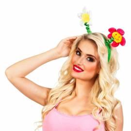 Serre-tête avec deux fleurs souriantes de couleur