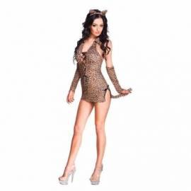 Déguisement léopard avec serre-tête, robe courte et manchons