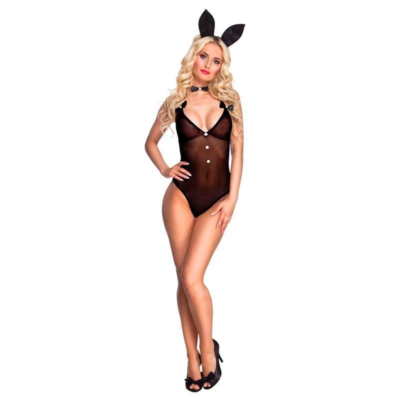 Déguisement sexy de lapine avec body noir et serre-tête avec oreilles