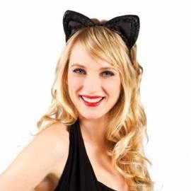 Serre-tête avec oreilles de chat noir à paillettes dorées