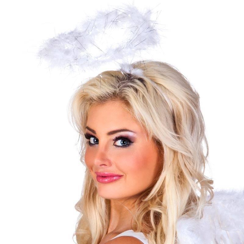Serre-tête avec auréole d'ange en plumes blanches
