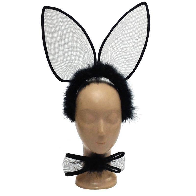 Pack serre-tête avec oreilles de lapin noires et noeud papillon