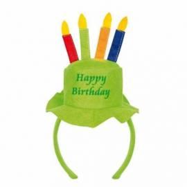 """Serre-tête de couleur avec un chapeau """"Happy birthday"""" avec bougies"""