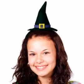 Serre-tête avec petit chapeau pointu de sorcière noir et violet