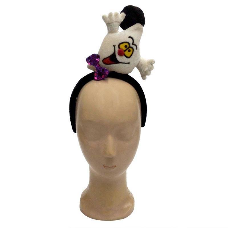 Serre-tête avec un fantôme portant un noeud papillon et un chapeau