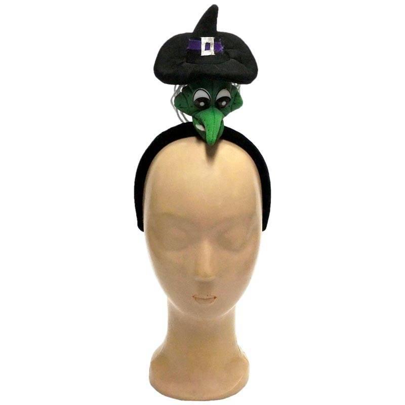 Serre-tête avec tête de sorcière verte et son chapeau pointu