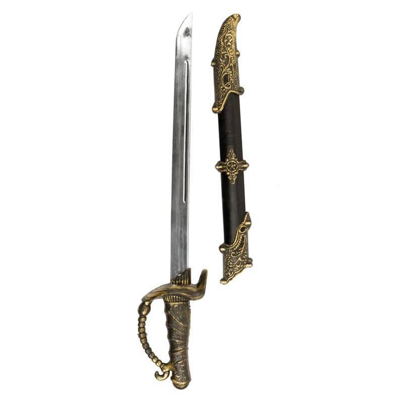 Épée de pirate, noir et or avec son fourreau