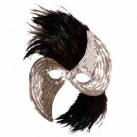 Loup en carton avec paillettes rondes argentées et plumes noires