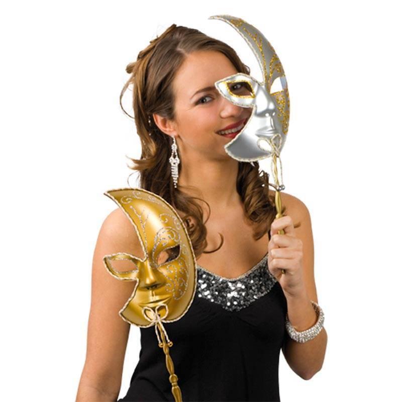 Demi masque vénitien brillant or ou argent avec un manche
