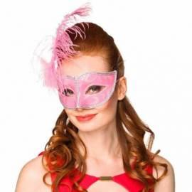 Masque vénitien rose bonbon avec bords argentés et une plume à gauche