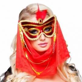 Masque vénitien rouge et or avec un voile et une plume