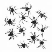 Douze araignées noires en plastique