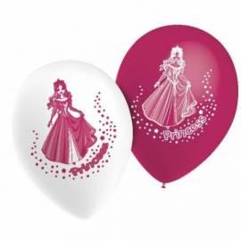 10 ballons de couleur avec un dessin de princesse