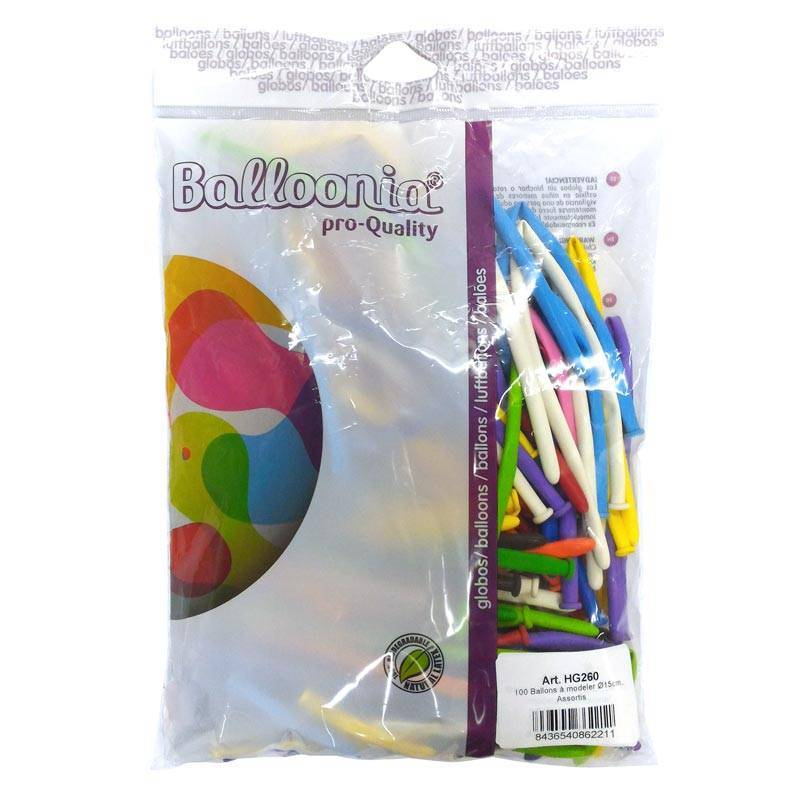 100 ballons à modeler de couleur