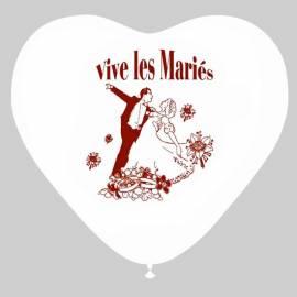 """10 ballons blancs en forme de coeur """"Vive les mariés"""""""