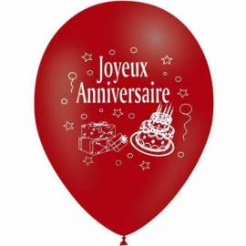 """10 ballons de couleur ronds """"Joyeux anniversaire"""""""