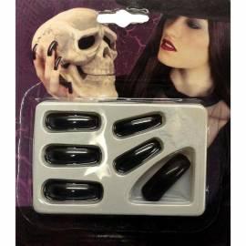 12 longs faux ongles noirs