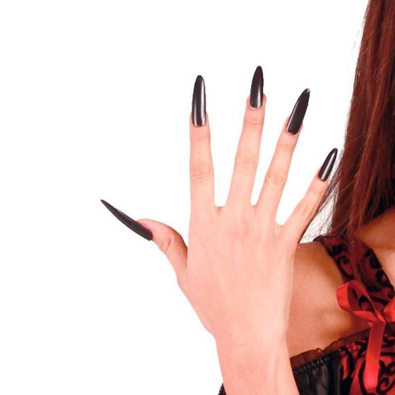 10 longs faux ongles noirs