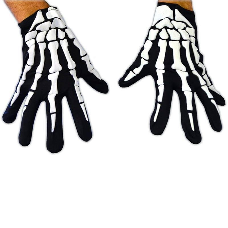 Paire de gants avec mains de squelette