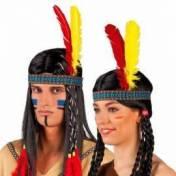 Bandeau indien avec une plume jaune et l'autre rouge