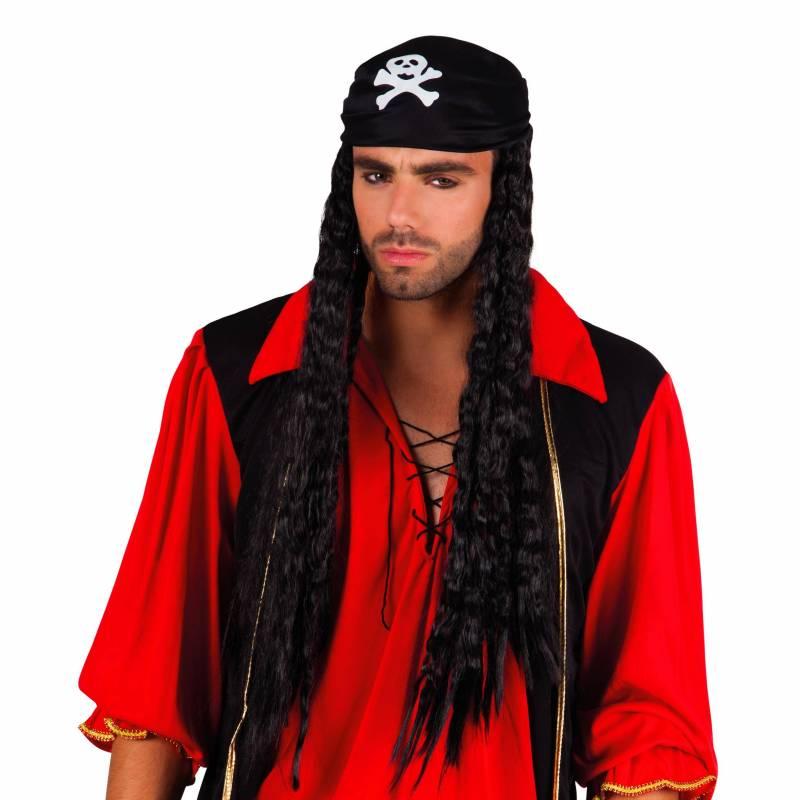 Longue perruque bouclée, noire avec bonnet de pirate