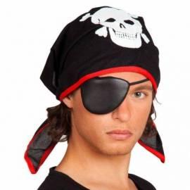 Bandana noir avec un bandeau pirate