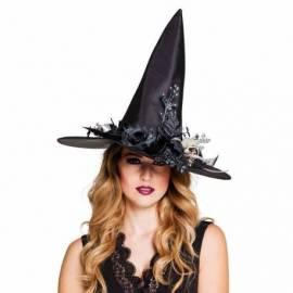 Chapeau pointu noir de sorcière orné de fleurs noires