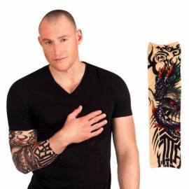 Manchon de tatouage avec un dragon noir et un crane