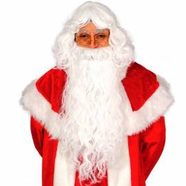 Longue perruque et barbe de Père Noël