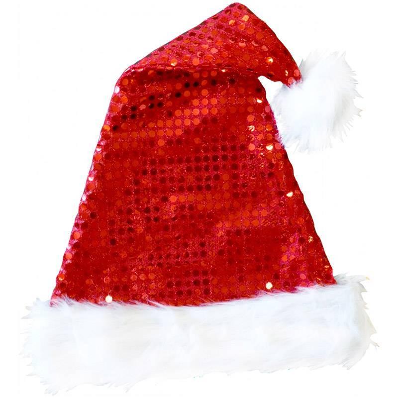 Bonnet rouge à paillettes et avec pompon blanc