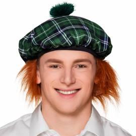 Béret écossais rouge ou vert avec faux cheveux roux à l'arrière