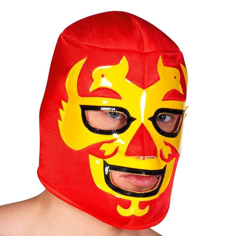 Masque de catcheur rouge et jaune