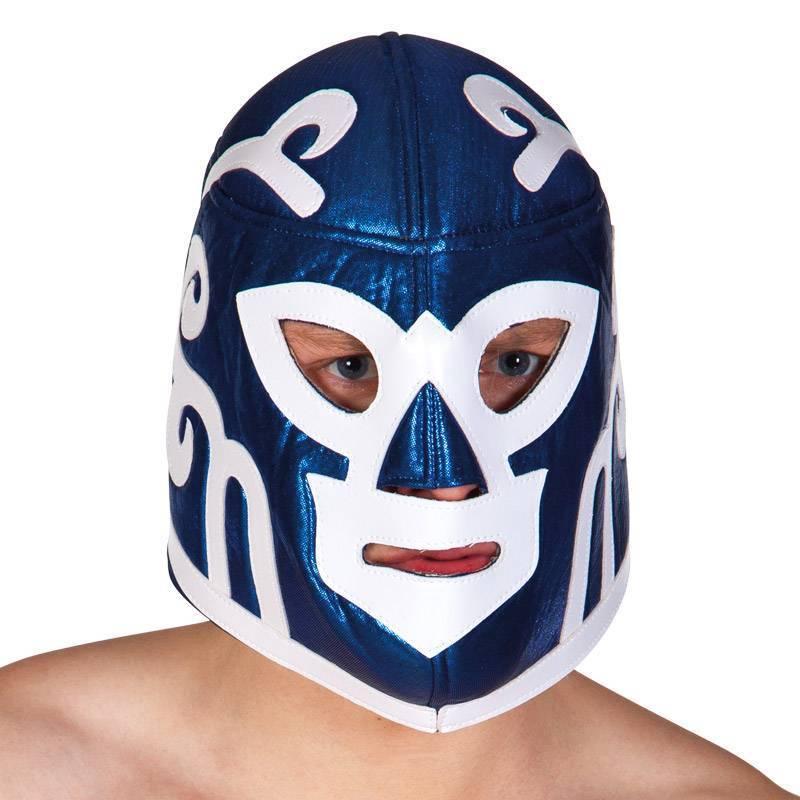 Masque de catcheur bleu et blanc