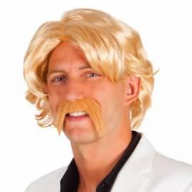 Perruque blonde avec moustache