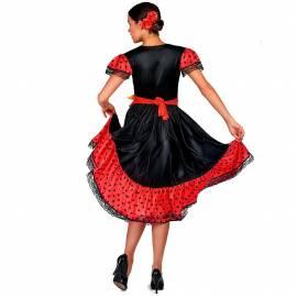 Robe de flamenco adulte satinée rouge et noire