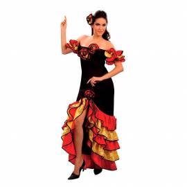 Robe de flamenco adulte satinée rouge, noire et jaune