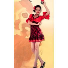Robe adulte de danseuse de flamenco rouge et noire