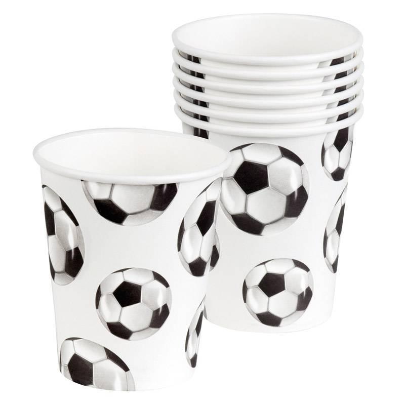 Ensemble de 6 gobelets avec motif en ballon de foot