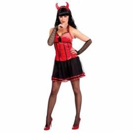 Déguisement de diablesse avec robe rouge et noire, manchons et cornes