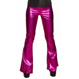 Pantalon style disco couleur rose vif