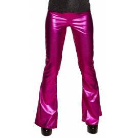 Pantalon style disco couleur rose vif