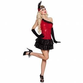 Robe courte rouge et noire Flapper Ruby