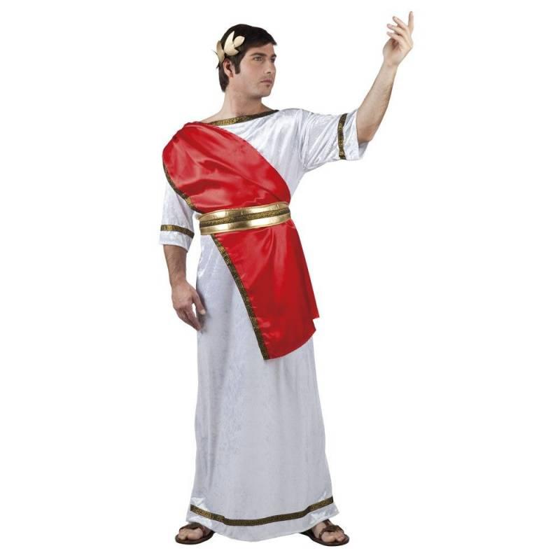 Déguisement d'empereur romain avec toge rouge, blanche et or pour adulte