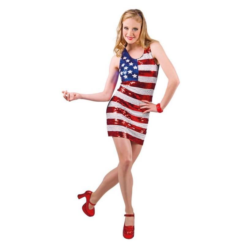 Robe à paillettes avec le drapeau des Etats-Unis