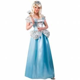 Déguisement adulte de princesse, bleu ciel et argent