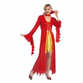Deguisement vampire rouge et jaune pour femme