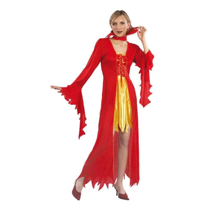 Déguisement adulte de femme vampire rouge et jaune