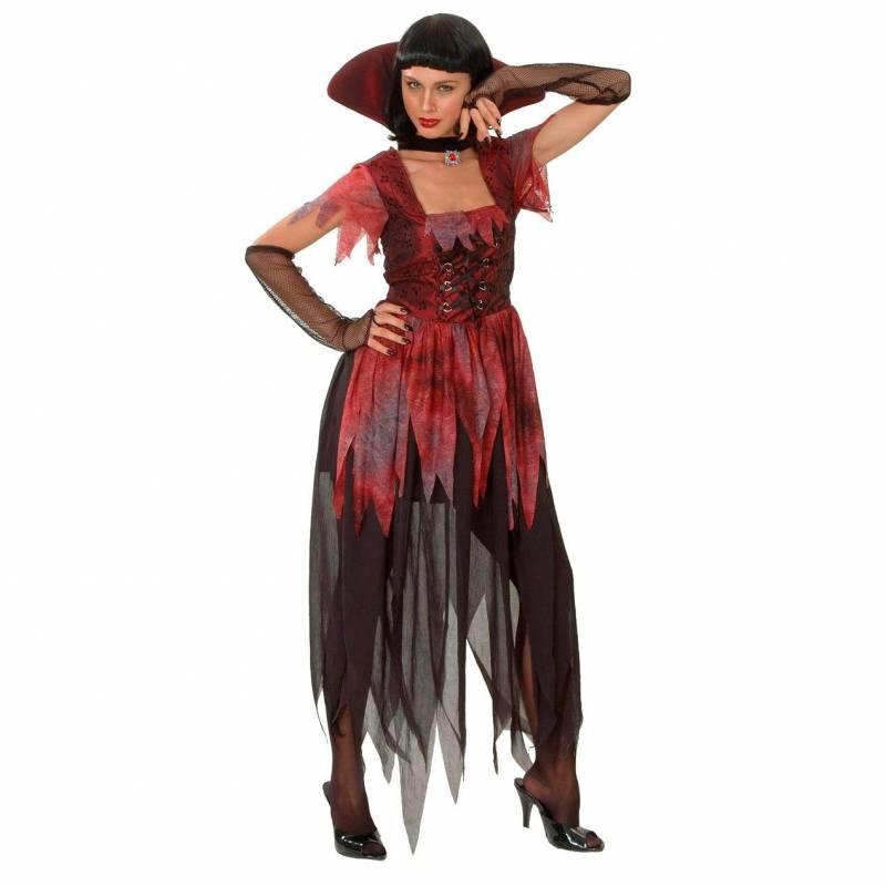 Déguisement adulte de femme vampire rouge et noir