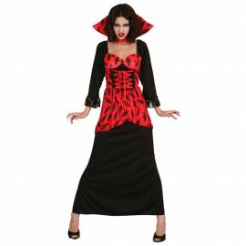 Déguisement adulte de vampire avec robe rouge et noire