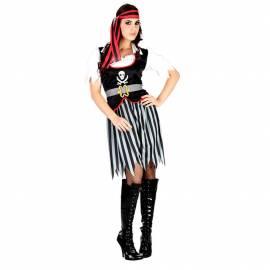 Déguisement adulte de femme pirate, noir, blanc et rouge